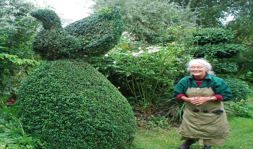 Charlotte Molesworth in her topiary garden