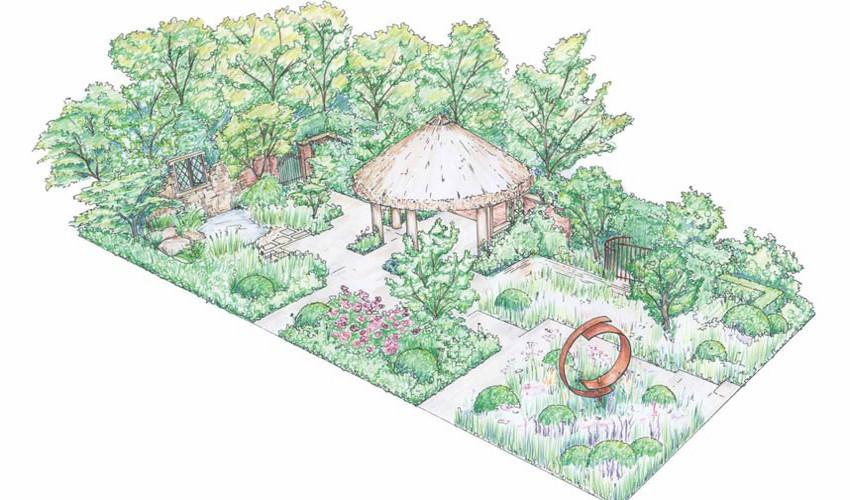 Artists impression of the M & G sponsored 'Windows Through Time' Garden at Chelsea Flower Show